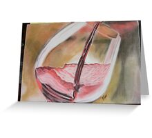 Glass of red wine. Greeting Card