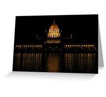Hungarian Parliament At Night Greeting Card