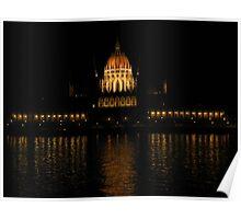 Hungarian Parliament At Night Poster