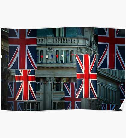 London. Regent Street. Royal Wedding Flags. Poster