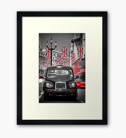 UK. London. Regent Street. Union Jack decorations for Royal Wedding.(Alan Copson ©) Framed Print
