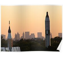 Manhattan Skyline at Dusk, View from Flushing Meadow Park Poster