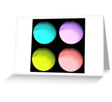 Four Colored Moons Greeting Card