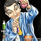 Mr Bean reaches for an explosive solution to his sticky refridgerator door. by Margaret Sanderson