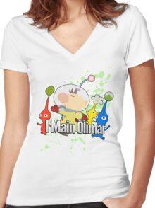 I Main Olimar - Super Smash Bros. Women's Fitted V-Neck T-Shirt