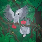 Playful Greys - African Grey Parrots by Joann Barrack