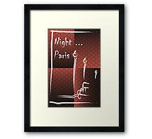 Illustration of a boulevard in Paris at night. For t-shirt or other uses,in vector - stock vector Framed Print