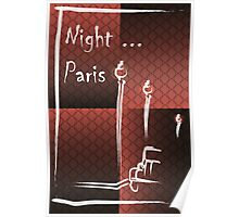 Illustration of a boulevard in Paris at night. For t-shirt or other uses,in vector - stock vector Poster