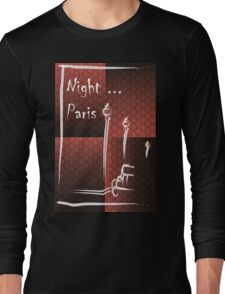 Illustration of a boulevard in Paris at night. For t-shirt or other uses,in vector - stock vector Long Sleeve T-Shirt