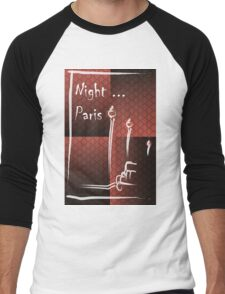 Illustration of a boulevard in Paris at night. For t-shirt or other uses,in vector - stock vector Men's Baseball ¾ T-Shirt