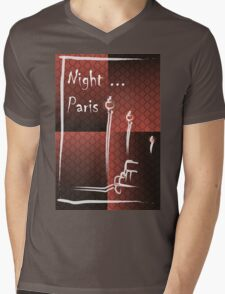 Illustration of a boulevard in Paris at night. For t-shirt or other uses,in vector - stock vector Mens V-Neck T-Shirt