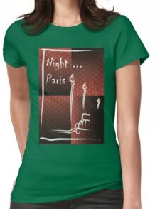 Illustration of a boulevard in Paris at night. For t-shirt or other uses,in vector - stock vector Womens Fitted T-Shirt