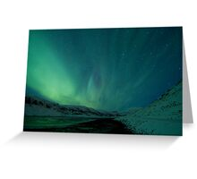 Green Sky over Hvalfjordur Greeting Card