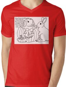 Bunny Nursery Rhyme Series-Peter, Peter, Pumpkin Eater b&w Mens V-Neck T-Shirt