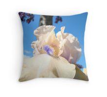 Peach Iris Flower art Blue Sky Floral Baslee Troutman Throw Pillow