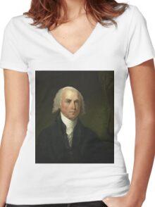James Madison by Gilbert Stuart (1821) Women's Fitted V-Neck T-Shirt