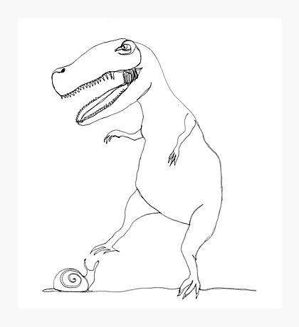 snail & T-Rex Photographic Print