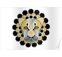 Lion tattoo - beautiful illustration of lions head with fantasy pattern Poster