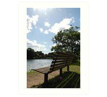 Riverside bench Art Print