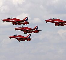Red arrows in formation. by Keith Larby