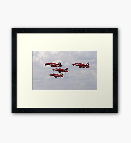 Red arrows in formation. Framed Print