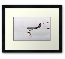 Virgin 747 escorted by the red arrows Framed Print