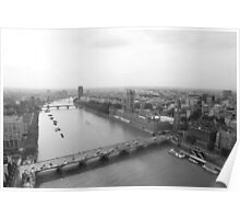Black & white view over London Poster