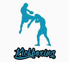 Kickboxing Man Jumping Knee Blue  T-Shirt