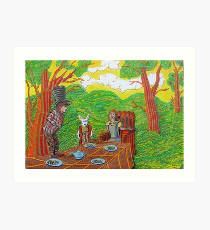 337 - THE MAD HATTER'S TEA PARTY - DAVE EDWARDS - COLOURED PENCILS - 2011 Art Print