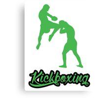 Kickboxing Man Jumping Knee Green  Canvas Print