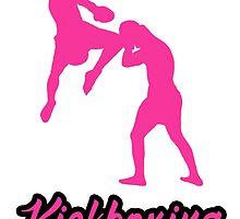 Kickboxing Man Jumping Knee Pink  by yin888