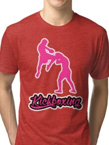 Kickboxing Man Jumping Knee Pink  Tri-blend T-Shirt