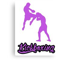 Kickboxing Man Jumping Knee Purple Canvas Print