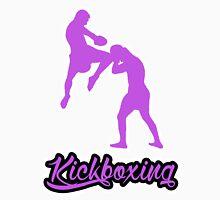 Kickboxing Man Jumping Knee Purple T-Shirt