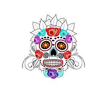 Fun Bright Trendy Sugar Skull Photographic Print