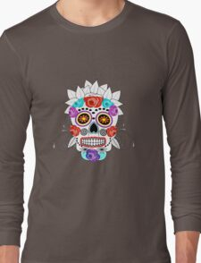 Fun Bright Trendy Sugar Skull Long Sleeve T-Shirt