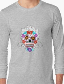 Fun Bright Trendy Sugar Skull Long Sleeve T-Shirt