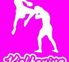 Kickboxing Man Jumping Knee Blue White  by yin888