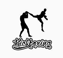 Kickboxing Man Jumping Back Kick Black  T-Shirt