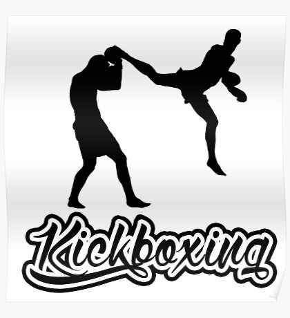 Kickboxing Man Jumping Back Kick Black  Poster