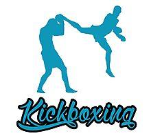 Kickboxing Man Jumping Back Kick Blue Photographic Print