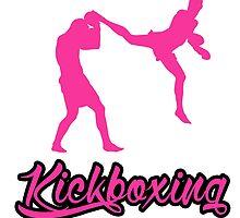 Kickboxing Man Jumping Back Kick Pink  by yin888