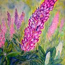 Lupines in the Orchard by Lynda Earley