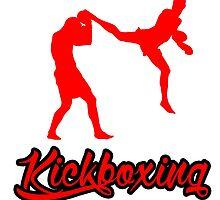Kickboxing Man Jumping Back Kick Red  by yin888