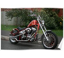 The Red Witch - Custom Chopper Motorcycle - Colour Poster