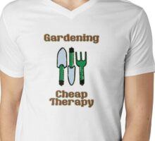 Gardening = Cheap Therapy Mens V-Neck T-Shirt