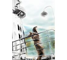 Woman on Ship Rails Photographic Print