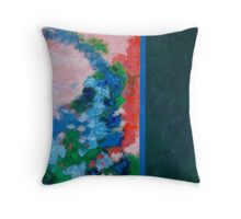 Rita-T, Abstract Painting, Untitled 1, Red, Blue, Pink, Green Throw Pillow