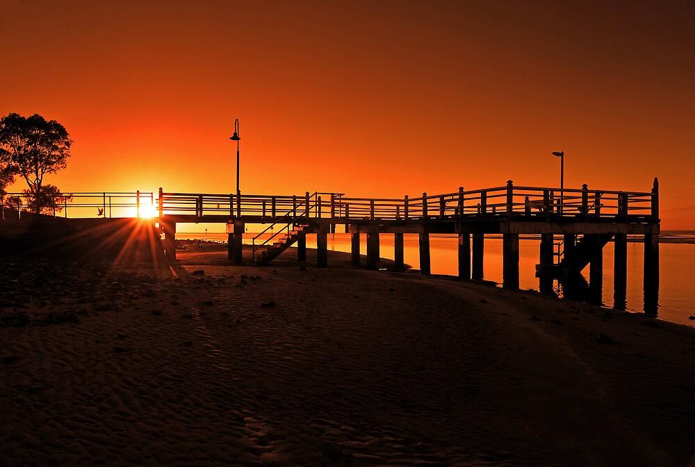 Sunrise at Baxters Jetty, Shorncliffe. Brisbane, Queensland, Australia. by Ralph de Zilva