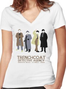 Trenchcoat Detective Agency Women's Fitted V-Neck T-Shirt